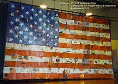 25' x 13' American Flag Collage - I developed & directed this community art project after 9-11. Students (K-8) expressed their feelings and prayers on paper ...