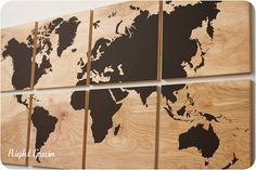 Large World Map Wall Art on Natural Birch Wood Grain by RightGrain, $296.00