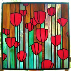 Robins Red Tulips in stained glass by QuinnGlass on Etsy, $145.00
