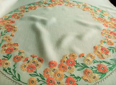 Hand Embroidered Floral Ring Vintage Linen Tablecloth