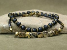 Mens Bracelet  Beaded Bracelet  Stretch by StoneWearDesigns, $42.00