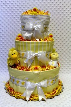 gdiapers Baby Diaper Cake Ducks Shower Gift or Centerpiece by Dianna's Diaper Cakes