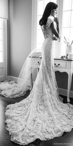 alessandra rinaudo 2018 bridal cap sleeves sweetheart neckline full embellishment elegant sheath wedding dress open back chapel train (08) bv