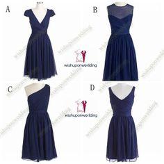 navy blue bridesmaid dresses, chiffon bridesmaid dress, mint bridesmaid dress, knee length cheap bridesmaids dresss, short bridesmaid dress on Etsy, $92.00