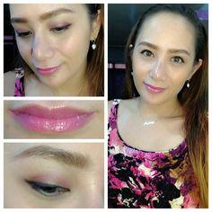 loreal and elf eyeshdows  MAC candy yum yum lightly applied + Victoria's Secret beauty rush lip gloss