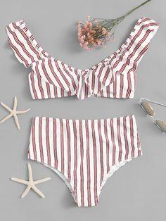 be9fecef0da7 Striped Ruffle Top With High Waist Bikini Set | SHEIN Two Piece Swimwear,  One Piece