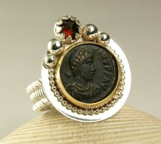 Roman Coin Ring 14k Gold Sterling Silver by TazziesCustomJewelry