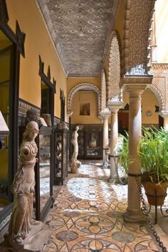 Outside of Morocco, Sevilla Spain had some of the most beautiful open courtyards that are basked in sunlight and tile work. This one is especially gorgeous. Places In Spain, Places To Go, Wonderful Places, Beautiful Places, Palace, Seville Spain, Belle Villa, Madrid, Spain And Portugal