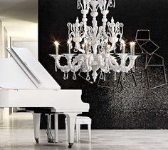 white baby grand piano & white chandelier - oh yes!