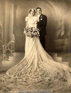 1930s Vintage Wedding photo in stunning dress Wow!