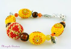 "Chunky Lampwork Bead Bracelet Beaded Bead by ThezoraArtBijoux Use ""PINTEREST"" coupon at check-out and get 10% OFF!"