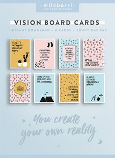 Affirmations, Creating A Vision Board, Kit, Affirmation Cards, Startup, Printable Quotes, Wall Art Quotes, How To Stay Motivated, Quote Prints
