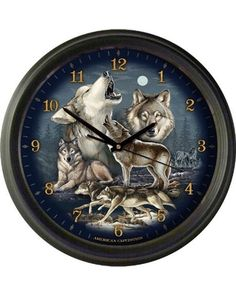 "American 16"" Wall Clock - Gray Wolf Collage"