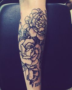 Rose sleeve tattoo forearm tattoo. Stamp roses line work peonies black and white tattoo.