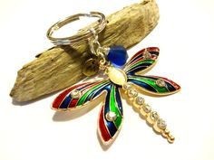 Striking Multi Color Dragonfly Keychain, Cobalt Blue Accessory, Pretty Purse Charm, Dragonfly Gift, Remembrance Gift, Keepsake Gift