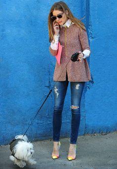 Olivia Palermo Jeans, zapatos en colores