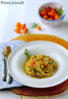 Pici alla Gallinella di Mare con Pomodorini Gialli e Pinoli #calendargirls di PixeLiciouS #pomodoro