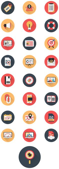 Business Icons and Web Icons Set - Flat Icons by Cursor Creative House, via Behance