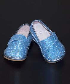 Another great find on #zulily! Blue Glitter Leather Squeaker Shoe by Princess Linens #zulilyfinds