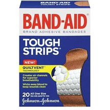 Gotta have your band-aids.   Walmart: BAND-AID Tough-Strips Waterproof Adhesive Bandages, 20ct #firstaid #medkit #bushsmarts #survival #gear #outdoors #camping #hiking #mountaineering #campinggear #manstuff
