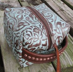 """""""Turquoise Floral"""" Small Leather Cosmetic Bag by Running Roan Tack"""