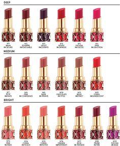 YSL Lipstick Chart
