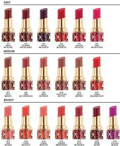 YSL Lipstick Chart. xx so pretty. xx don't have any but really want some. xx