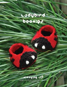 Ladybird / Beetles Booties Crochet PATTERN by kittying.com from mulu.us | This pattern includes sizes for 0 - 12 months.
