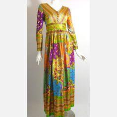70s Persian Print Maxi Dress
