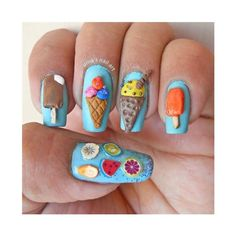 3D ice cream nails Nail Art Gallery ❤ liked on Polyvore featuring nails