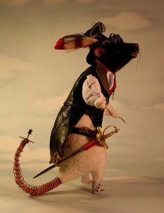 Gaslight Steampunk Rat OOAK Artist Needle felt Sculpture by Stevi T.