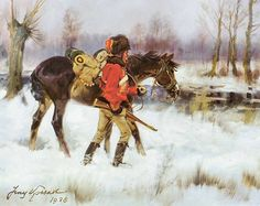 """Hussar with a Horse in a Winter Landscape"" by Jerzy Kossak"