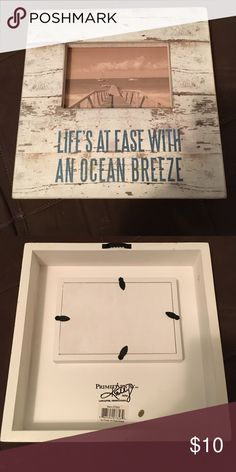 """Beach picture frame Brand new, PRIMITIVES BY KATHY, """"Life's at ease with an ocean breeze"""" picture frame. Holds a 4x6 photo. Other"""
