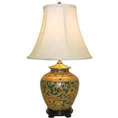 Shop for Royal Everglade Ginger Jar Porcelain Table Lamp. Get free delivery On EVERYTHING* Overstock - Your Online Lamps & Lamp Shades Store! Chinese Lamps, Colored Highlights, Ginger Jars, Lamp Shades, Table Lamps, Accent Pieces, Red And Blue, Porcelain, Home And Garden