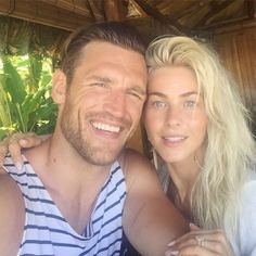 Julianne Hough and Brooks Laich - Julianne Hough and Brooks Laich posing at brunch on their honeymoon.
