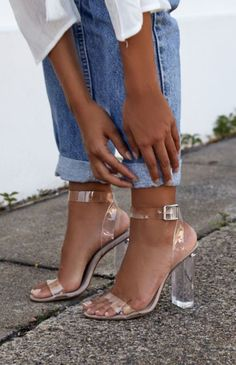 New Clear Heels - The latest style Gemma | Block heels styled with rolled cuff boyfriend or the new Mom jeans cut. Crisp, minimalist white shirt women's fashion outfit. Rocking this enviable wardrobe. From laid-back to luxe, new season to vintage, this is you...