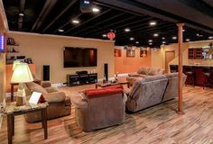 Painted Ceilings In Basement Inspiration Gallery From Exposed Basement Ceiling Ideas Darker Spray Painted Basement Ceilings Exposed Basement Ceiling, Basement Ceiling Painted, Basement Ceiling Options, Basement Painting, Basement Lighting, Basement Walls, Ceiling Ideas, Painted Ceilings, Basement Bathroom