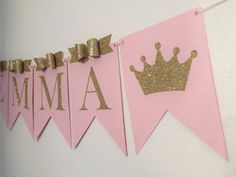 Princess birthday banner crown name by FancyFunctionDesigns Baby Girl Birthday, Princess Birthday, Princess Party, Shower Banners, Baby Shower Princess, Party Kit, Boy Shower, Baby Decor, Birthday Decorations