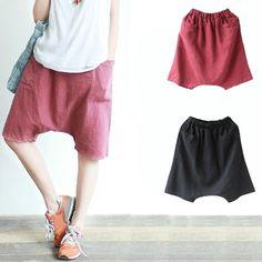 Women Men Linen Harem Shorts Baggy Loose Trousers Casual Drop Crotch Short Pants | eBay