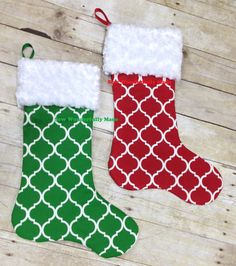 Personalized Quatrefoil Christmas Stocking - Custom Made Embroidered Christmas Stocking - Christmas Stockings - Red and Green Stockings