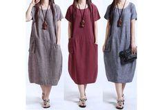 Women Fashion Cotton Plus Size Vintage Casual Loose Long Tops Shirt Baggy Tunic Maxi Dress