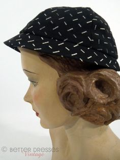 A charmingly fun black and white 1950s carlot cap-style hat. $30.00 from Better Dresses Vintage. #hats #vintage #1950s