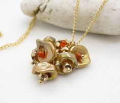 Gold keishi pearl necklace autumn green by CreativityJewellery, $50.00