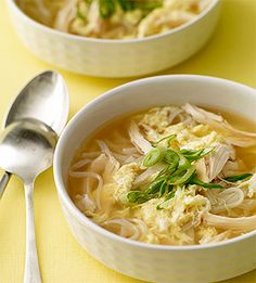 Egg Drop Soup with Chicken and Noodles - This classic Asian one-dish recipe is filling enough to be considered a meal and takes less than 30 minutes to prepare.