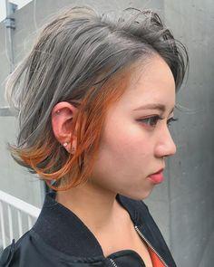 いいね!153件、コメント2件 ― KO-JI / XENA渋谷 代表さん(@xenakoji)のInstagramアカウント: 「ホワイトシルバーにオレンジインナー🍊 . 耳周りのみを違うカラーに染めるイヤリングカラー👂 . #オレンジインナー . XENA代表KO-JI @xenakoji salon…」 Chic Short Hair, Short Hair Styles, Medium Bob Cuts, Hair Inspo, Hair Inspiration, Bob Hair Color, Aesthetic Hair, About Hair, Hair Dos