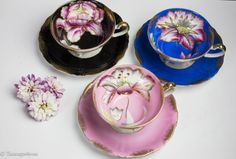 Vintage Royal Sealy 3 Footed Cups and Saucers Beautiful