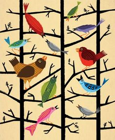 This print inspires a tree for a bulliton board tree where the birds are made by a variety of students in a variety of grades. iOTA iLLUSTRATION - For All The Birds - illustrated Limited Edition - kids Animal Art Print Art And Illustration, Illustrations, Collaborative Art, Canvas Paper, Grafik Design, Bird Prints, Art Plastique, Animals For Kids, Bird Art