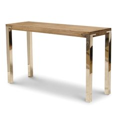 BRIGHTON CONSOLE TABLE - Plantation hardwood plank top with stainless steel legs