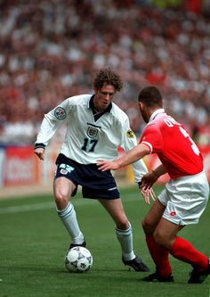 England 1 Switzerland 1 in 1996 at Wembley. Steve McManaman takes on Yvan Quentin in Group A Euro 1996, 1966 World Cup Final, England National, Uefa Euro 2016, England Football, Perfect Legs, National Football Teams, European Championships, Coming Home