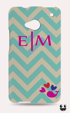 HTC One Phone Case, HTC One Case Turquoise Beige Chevron Whale Pink Monogram